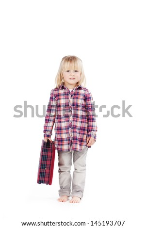 Cute little girl ready for a trip standing in her bare feet carrying a small tartan suitcase facing the camera, isolated on white - stock photo