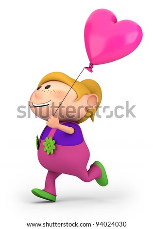 cute little girl running with heart-shaped balloon - high quality 3d illustration - stock photo