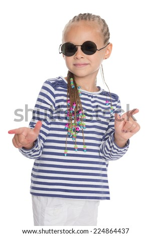 Cute little girl showing thumbs up in different directions. Girl is six years old.  - stock photo