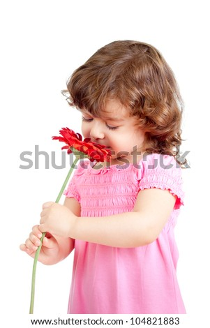 cute little girl smelling flower gift, isolated on white - stock photo