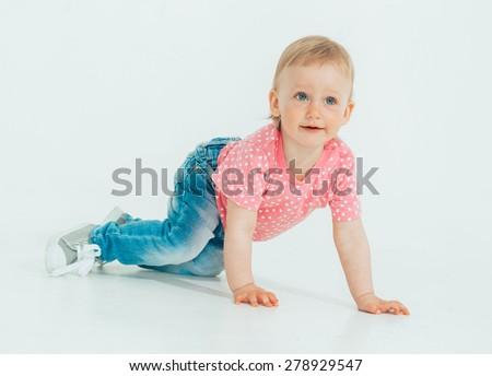 Cute little girl studio portrait full length  - stock photo