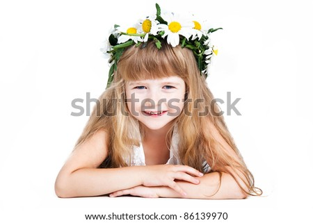 cute little girl wearing a wreath isolated on white background - stock photo
