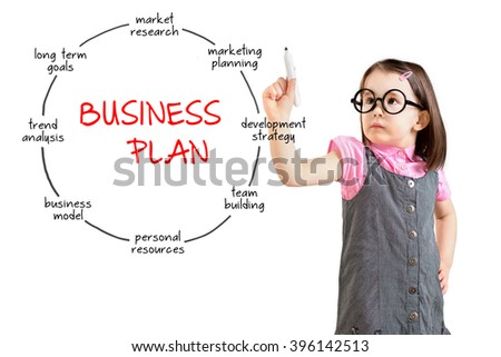 Cute little girl wearing business dress and drawing business plan concept. White background. - stock photo