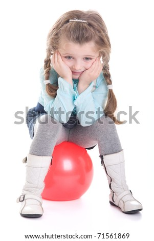 Cute little girl with ball, isolated on white background - stock photo