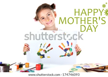 Cute little girl with color hand prints, isolated on white - stock photo