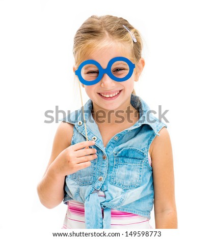 cute little girl with fake glasses - stock photo