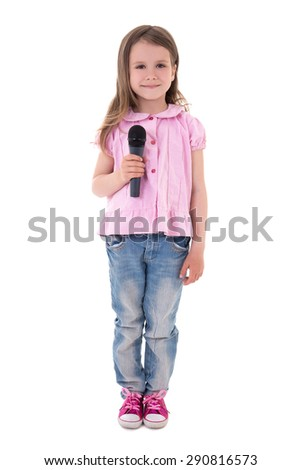 cute little girl with microphone isolated on white background - stock photo