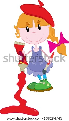 Cute little girl with paint - stock photo