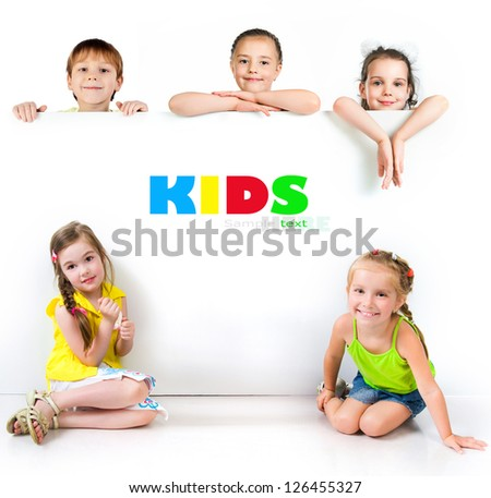 Cute little girls isolated on white background - stock photo