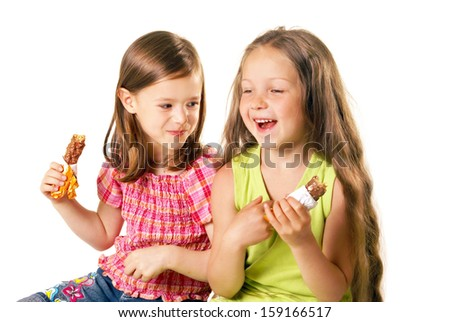 cute little girls with the ice-cream - stock photo