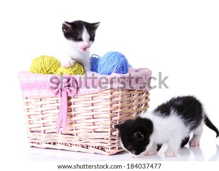 Cute little kittens in basket with balls of yarn, isolated on white - stock photo