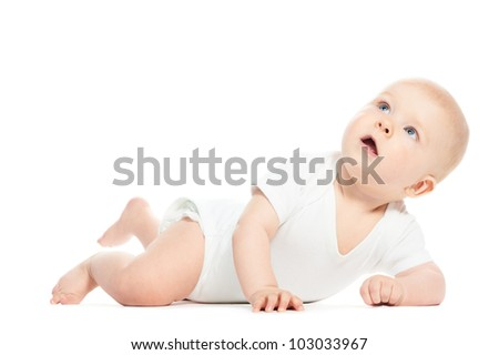 Cute little laughing crawling baby isolated on white - stock photo
