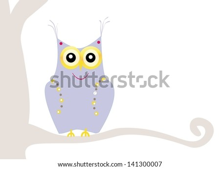 cute little owl - stock photo