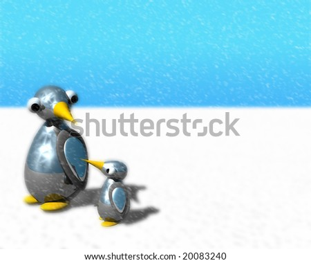 Cute little penguin family walking as snow is falling. - stock photo