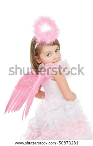 Cute little pink angel isolated on white background. - stock photo