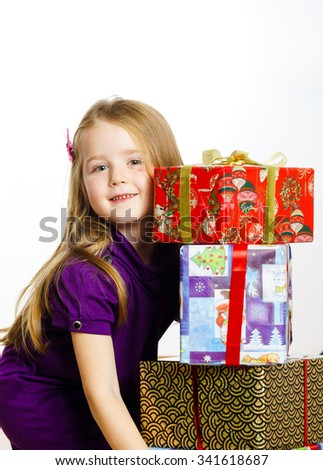 Cute little preschooler girl christmas portrait, isolated on white - stock photo