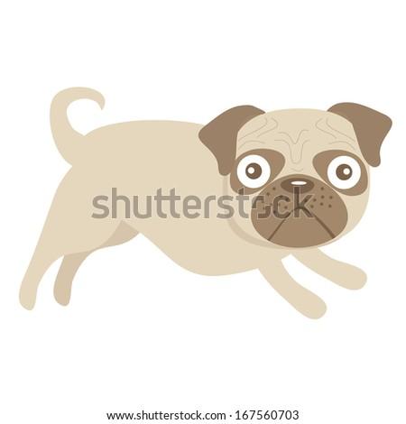 Cute little pug dog illustration. Raster version - stock photo