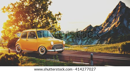 Cute little retro car goes by wonderful countryside road at sunset. 3D illustration of cartoon made up car - stock photo