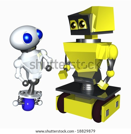 Cute little robot afraid of larger robot. - stock photo