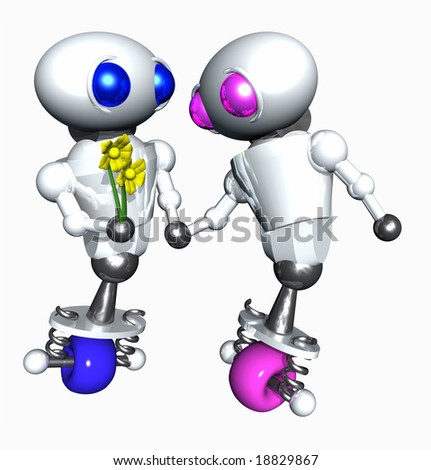Cute little robot giving flowers to another robot to show affection. - stock photo