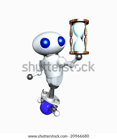 Cute little robot holding a wooden hourglass. - stock photo