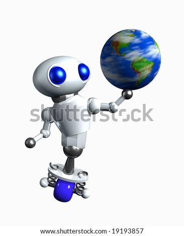 Cute little robot spinning a globe on his hand. - stock photo