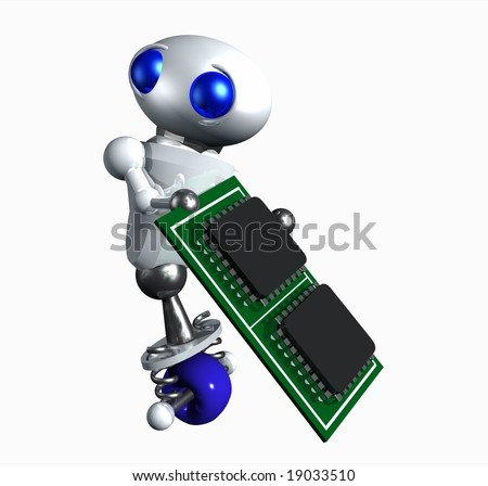 Cute little robot taking a computer microchip. - stock photo