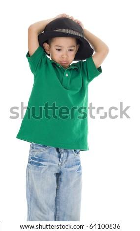 cute little sad boy isolated on white background - stock photo