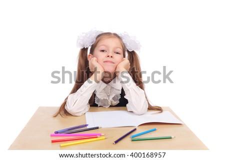 cute little school girl closeup - stock photo