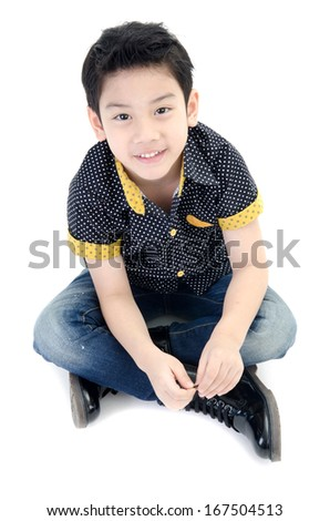 Cute little smile boy  isolate on white background .  - stock photo