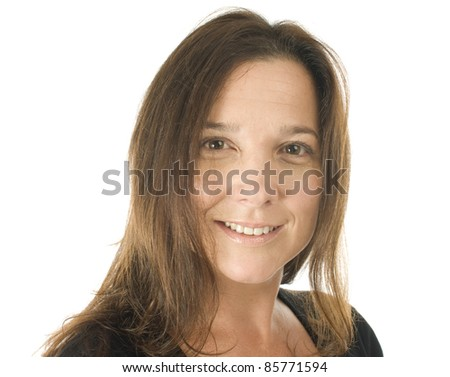 cute middle age woman corporate executive or customer service representative happy smiling portrait - stock photo