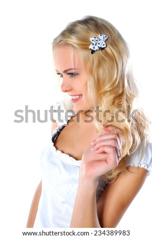 Cute model with curly hair - stock photo