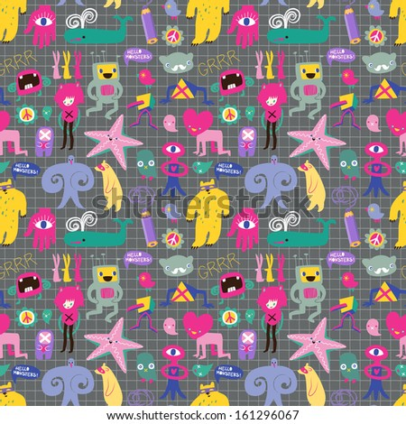 Cute monsters and freaks. Seamless background. Set 5.  - stock photo
