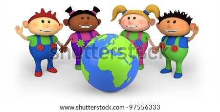 cute multi-ethnic kids with globe - high quality 3d illustration - stock photo