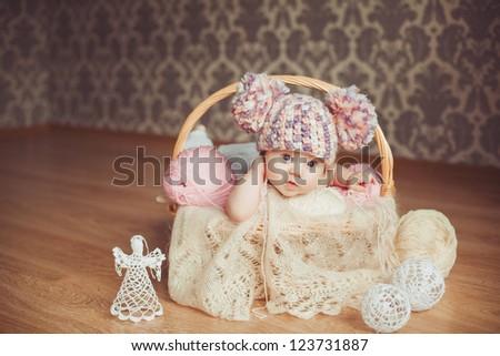 Cute newborn baby girl - stock photo