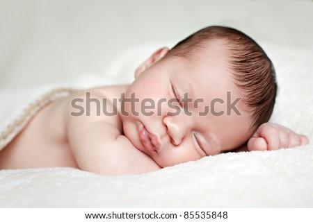 cute newborn baby sleeping - stock photo