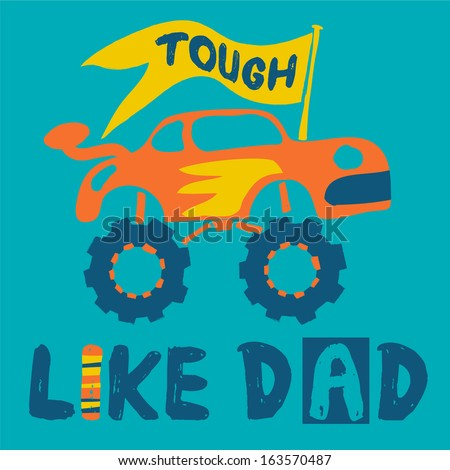Cute off road vehicle with yellow flag for father's day - stock photo
