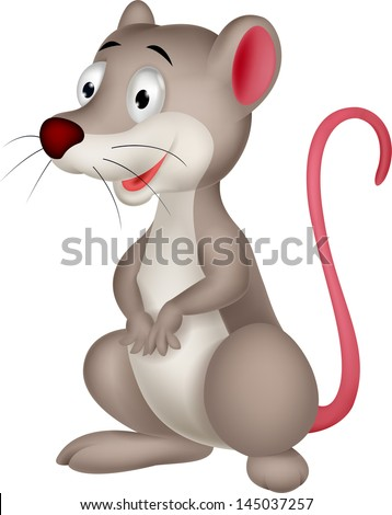 Cute Opossum cartoon - stock photo