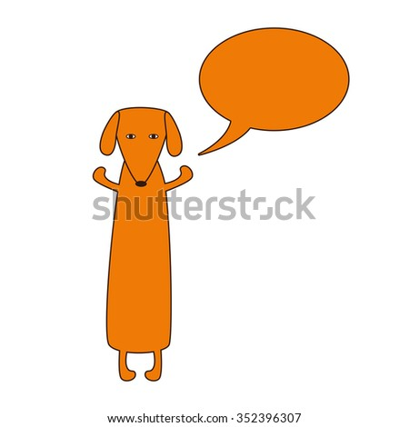 Cute orange colored brown contoured dachshund standing on hind legs with dissolved forelegs and empty speech bubble near it. Vector flat style illustration - stock photo