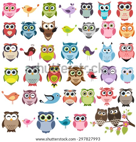Cute owls and birds set. Raster version - stock photo