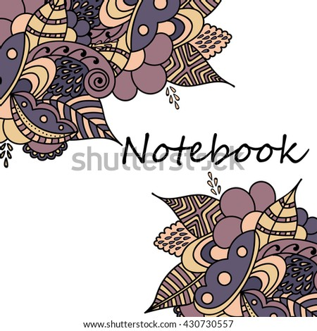 Cute pages for notes with cute delicate flowers and herbs. Notebooks,decals, diary, cards, school accessories. Cute design with floral  patterns.  - stock photo