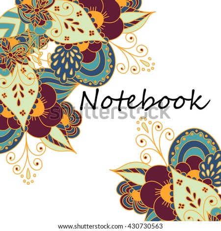 Cute pages for notes with cute delicate flowers and herbs. Notebooks,decals, diary, cards, school accessories. Cute design with floral seamless patterns.  - stock photo