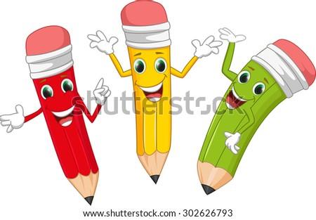 cute pencil cartoon - stock photo