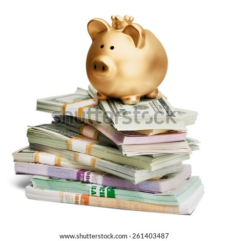 Cute Piggy Bank with Money  - stock photo