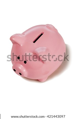 Cute pink piggy bank shot from above on white background with shadow around base - stock photo