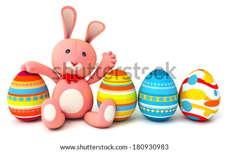 Cute plush bunny sitting in the same row with easter eggs. Isolated on white background. 3d render - stock photo