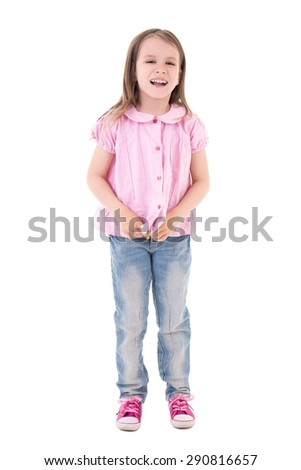 cute pretty little girl laughing isolated on white background - stock photo