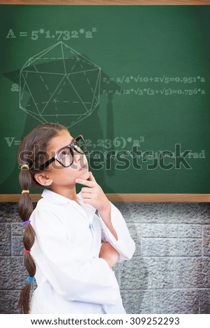 Cute pupil dressed up as scientist against green - stock photo
