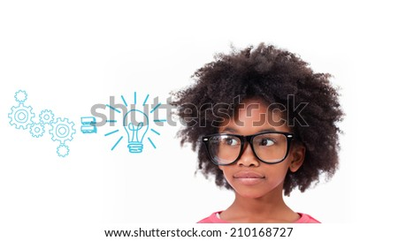 Cute pupil wearing glasses against idea and innovation graphic - stock photo