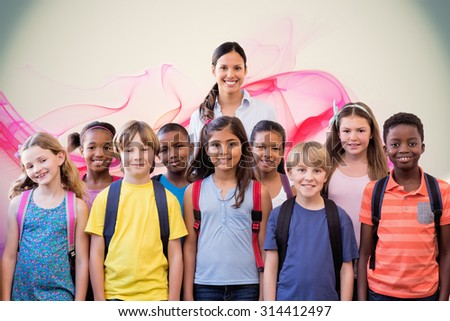 Cute pupils smiling at camera in the hall against pink abstract design - stock photo